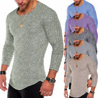 Men Slim Fit Knitted Long Sleeve Muscle T-shirt Crew Neck Sports Tee Casual Tops