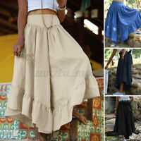 UK Women Summer Flare Wide Leg Pants Loose Culottes Skirts Belted Trousers Dress