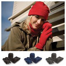 Mens Womens Warm Fleece Beanie Hat Scarf and Gloves Glove Set Warm Neck Warmer