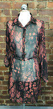 Black & Red Chiffon Snake Print Shirt Dress/Tunic Size 14 Sheer Summer Holiday