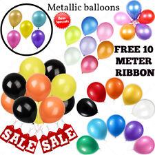 30-100 Metallic Pearlised Balloons Quality Birthday Wedding Ballons HELLIUM Ribn