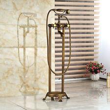 Antique Brass Bathroom Free Standing Bathtub Filler Mixer Handheld Shower Tap