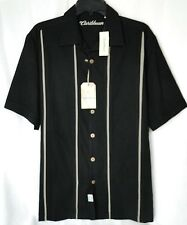 Men's S/S Panel Shirt Silk & Cotton in Black from Caribbean MSRP $79.50 NWT - M