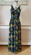 H&M Back Lace Dark Forest Vampire Abstract Blue Green Maxi Summer Dress Size 8