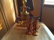 Vintage amber Depression glass decanter with six 2 oz cordial glasses