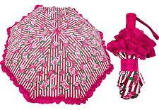NWT Betsey Johnson Rose Stripe Pink/White Auto Travel Umbrella w/Ruffles