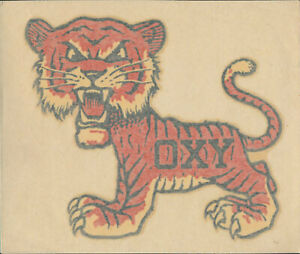 RARE Occidental College Oxy Tigers vtg 1950s ORIGINAL Decal Sticker NCAA