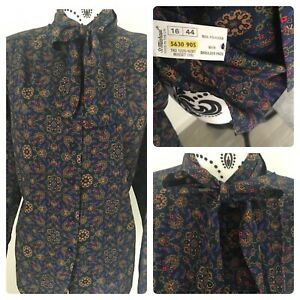 Vintage st michael silky pussy bow blouse size 16 paisley navy & gold M&S