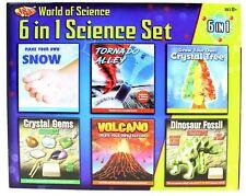 6 In 1 Science Set Make Your Own Volcano Tornado Crystal Gem Fossil Dig Kit