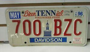 "Bicentennial Volunteer State Vehicle License Plate 1796-1996 ""700 BZC"""