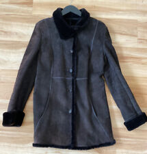 SEARLE Womens brown suede fur-lined shearling lined Coat size S - Winter Warm