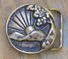 "Early 1970s Tech-Ether ""Colorado Sunrise"" Solid Brass Buckle"