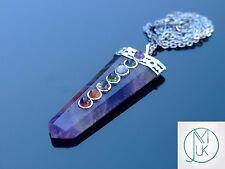 Amethyst 7 Chakra Flat Natural Gemstone Pendant Necklace 50cm Healing Stone