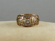 Gold Plated Cubic Zirconia CZ Square Etched Men's Fashion Ring Size 10