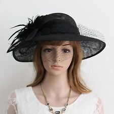 New Woman Church Derby Wedding Sinamay Dress Hat 245Black