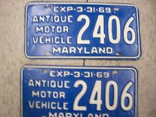 Maryland 1969 ANTIQUE MOTOR VEHICLE License Plate PAIR - VERY NICE   no.2406
