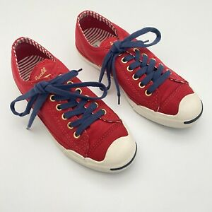 Converse Jack Purcell Rare Red Blue Canvas Lace Up Sneakers Shoes Women's 7