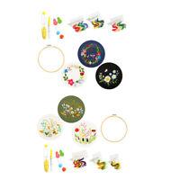 Stamped Embroidery Starter Kit Kreuzstich DIY Kit Wood Hoop