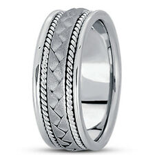 New Ladies 14k White Gold Hand Woven Braid Style Wedding Band Ring 7mm Size 6