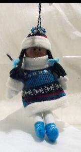 Eskimo Girl in Blue Knit Dress Stocking Cap Winter Christmas Ornament – NWT