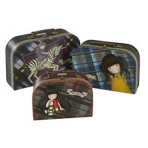 Gorjuss Suitcases Set 3 Nesting Travel Cases Girls Trinket Box Tartan 29cm