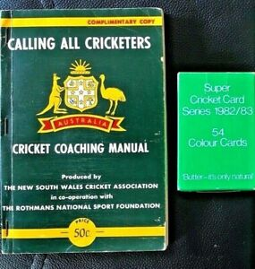 SUPER CRICKET CARD Series 1982/3 + 'Calling All Cricketers' Coaching Manual