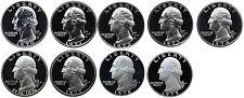 1970-1979 S Complete Set Washington Quarters Gem Proof Run 9 Coins US Mint 1970s