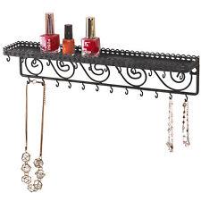 Wall Mounted Black Metal Cosmetics Storage Shelf w/25 Necklace Hanging Hooks