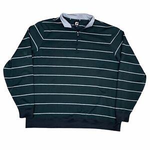Footjoy Jacket Mens Extra Large Black Gray 1/4 Pullover Golf Golfing Casual