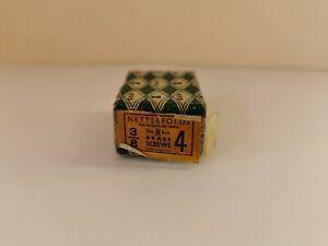 "50 vintage Nettlefolds brass Countersunk wood screws 3/8"" x 4 New Old Stock"