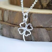 """Solid 925 Sterling Silver 4 Love Leaf Clover Pendant 17.7""""Chain Necklace Gift UK"""