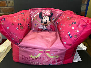 Pink Disney Minnie Mouse Child's/Toddler Bean Bag Sofa Chair~Banquet Of Bows