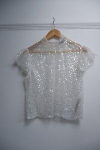 zara Women's Sequin Top Short Sleeve Size M Medium Uk 8-10  White VGC