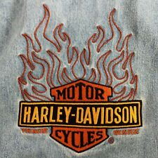 Harley-Davidson Blue Denim Cotton Men's Shirt Big Embroidered Logo on Back Med.