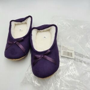"""Womens SZ M Slippers Plum Purple 9"""" Faux Suede Ballerina with Bow 36692 New"""