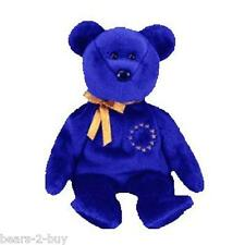 NEW TY Beanie Baby Unity Teddy Bear European Market Blue Bear With Stars New