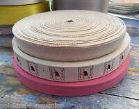 Vtg Cotton RIBBON Twill Tape Edging Paris France Meter Natural Ecru Pink Printed