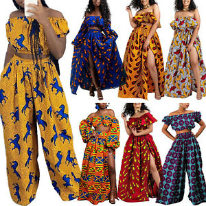 Ankara African Design Women Off Shoulder Bandeau Tops Wide Leg Pants Long Skirts
