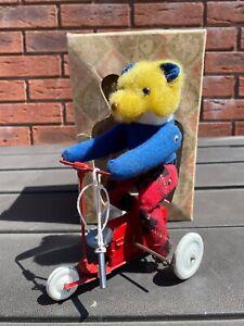 Clockwork Teddy Bear On Bike In It's Original Box - Excellent Rare