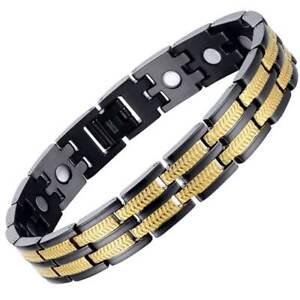 Black & Gold Titanium Magnetic Bracelet Arthritis Pain Relief + Resizing Tool