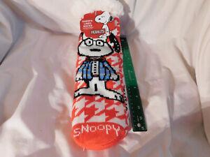 "15"" Adult Red Snoopy Sherpa Socks Tread Bottom Sweater Glasses Bowtie Peanuts"