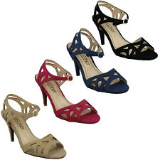 SALE F1R0173 SPOT ON LADIES PEEP TOE BUCKLE STRAP EVENING CASUAL SUMMER SANDALS