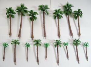 """Multi Gauge Use Tan Trunk Model Coconut Palm Trees 2 3/8"""" to 6"""" 16 pcs Total"""