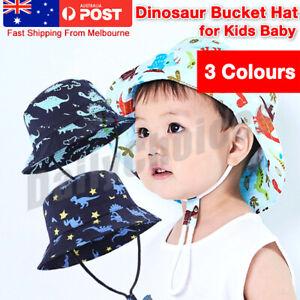 Children Boys Cartoon Dinosaur Bucket Hat Cotton Summer Beach Kids Baby Sun Cap