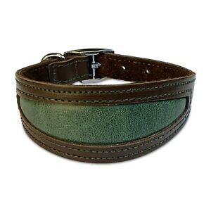 """Whippet Collar 10"""" - 12"""" UK Quality  Leather Inlaid Padded Dog Collar"""