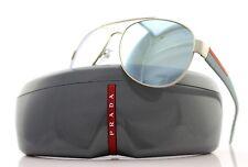 RARE NEW Authentic PRADA Sport Aviator Silver Rubber Sunglasses SPS 55Q QFP 5K2