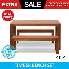 Timber Bench Set Wood Dining Outdoor Patio Umbrella Holder Table Chair Hardwood
