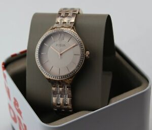 NEW AUTHENTIC FOSSIL SUITOR PASTEL PINK CRYSTALS WOMEN'S BQ3472 LADIES WATCH