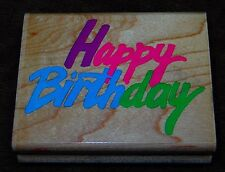 "RUBBER STAMP 2 3/4""  X 2 1/4"" ""HAPPY BIRTHDAY"" NICE USED CONDITION"
