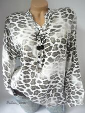 Leo Bluse Shirt Tunika Top Hemdbluse Fischerhemd Animal*Weiß Braun* S-L-36 38 40